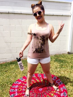 Funky Sunnies, Coachella Tank from Sidecca, Celebrity Pink Jean Shorts, Sam Edelman Sandals , Boho Blanket from Groop Dealz, Bando Waterbottle