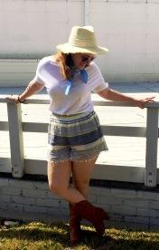 Malibu Farm Sun Hat, Siddecc Bandana, Coco Rose Boutique Sunnies,Tee and Shorts , Cowgirl Boots,