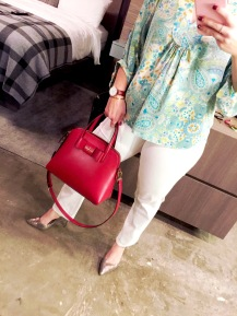 Alice and Trixie Peasant top, Lucky Brand White Jeans