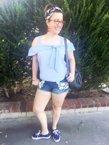 Palm Tree Headband, Heart Earrings, Candies Glasses, Off the Shoulder Top, Mossimo Denim