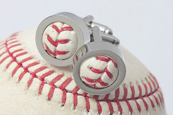 Chicago Cubs 2016 Game Used Baseball Cufflinks