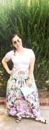 Forever 21 Crop Top, Crossroads Trading Co Floral Maxi Skirt, Daniel Wellington Watch & Cuff