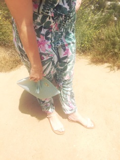 Gigi New York Clutch, Old Navy Jumpsuit, Soda sandals from Sidecar