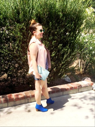 Top Knot Hair Do, Motorcycle Vest from Nordstrom Rack, Blue Printed Blouse, Mossimo denim shorts, Chinese Laundry Blue Suede Booties, T&J Designs Sunnies