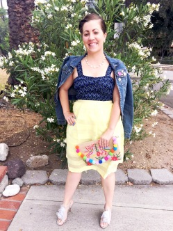 Abercrombie Denim Jacket, Zara Cropped Top, TJ Maxx Skirt, Sidecca Pom Pom Purse, Badgley Mischka Floral Heels