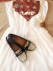 LiveLoveGameday necktie, Perky Pony, Stuart Weitzman Denim Flats