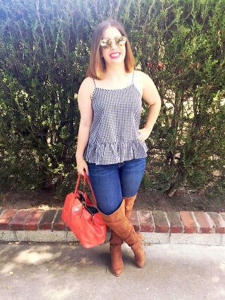 T&J Designs Sunglasses, Gingham Peplum Top, Mossimo Jeans, Forever 21 OTK Boots, Coach Coral Bag