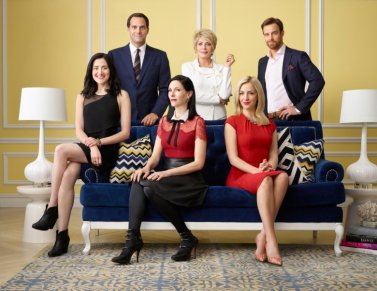 ODD MOM OUT -- Season:2 -- Pictured: (l-r) KK Glick as Vanessa, Andy Buckley as Andy Weber, Jill Kargman as Jill Weber, Joanna Cassidy as Candace, Abby Elliott as Brooke Von Weber, Sean Kleier as Lex Von Weber -- (Photo by: Matthias Clamer/Bravo)