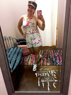 Coco Rose dressing room in my Flamingo Print Romper