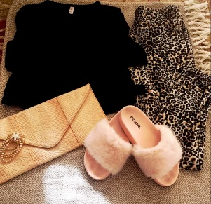 Xhilaration Wrap Top, Sidecca Bralette, Attire LA Envelope Clutch, Soda Pale Pink Sandals, Fornash Inc Bracelet, Leopard Pants