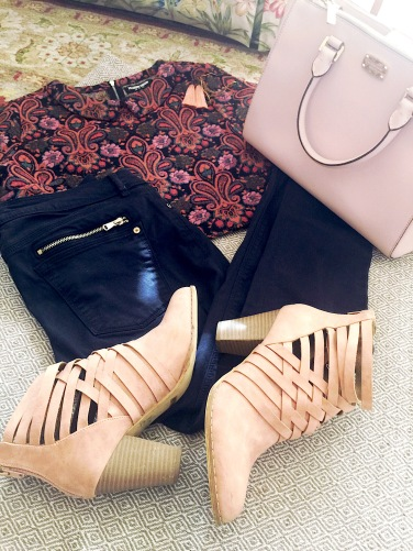 Target Moody Floral Top, Michael Kors Purse, Zara Jeans, Mia Booties with Flare