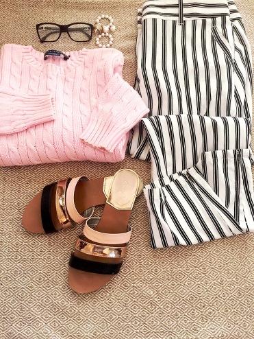 Ralph Lauren Pale Pink Sweater, Chanel Glasses, Vintage Earrings, Loft Pants, Qupid Sandals