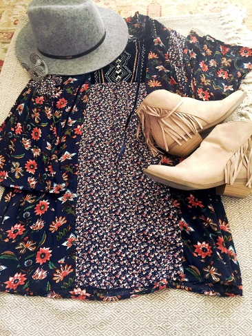 Volcom Hat, Moody Floral Dress, Soda Booties with Flare, Forever 21 Cuff