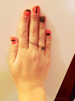 Sinful Colors Coral, Animal Print Nail Sticker, Black Accent Details