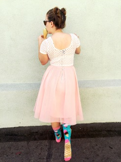 Forever 21 Crop Top, IL Teatro Princess Skirt, Woven Pear Ice Cream Socks