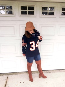 Walter Payton Jersey Sweater, Chicago Bears Infinity Scarf, Massimo Jeans and Bucket Hat, Forever 21 OTK Boots