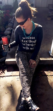 Forever 21 Jewelry, Covergirl lipstick, Live Love Gameday Tee and Koozie, Leopard Print Pants