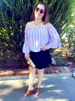 JINS Eyewear Sunnies, Juicy Couture Necklace, Off the Shoulder Top, Denim Skirt, Michael Kors Clutch, Mossimo Mules