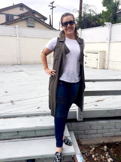 Chanel Sunnies, Mossimo Vest, Coco Rose Boutique Tee, Mossimo Jeans, Steve Madden Mules