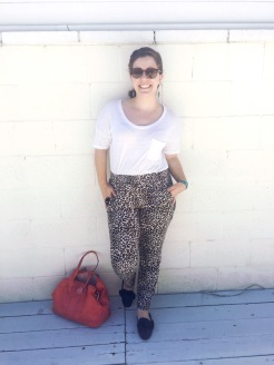 JINS Eyewear Sunnies, Guitar Pick Earrings, Old Navy Tee, Leopard Print Pants, Coach Purse, Bamboo Mules