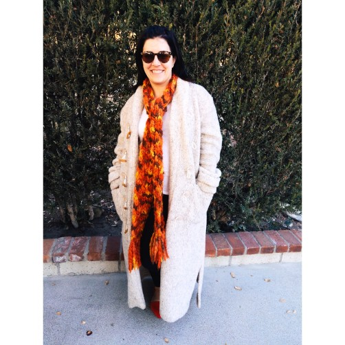 Cozy Coat, Lucky Brand Scarf, Target Tee, Leggings, Target Flats