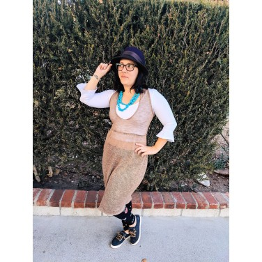 Target Hat, Calvin Klein Glasses, Voyage Clothing Dress, Zara Blouse, Old Navy Leggings, Sperrys
