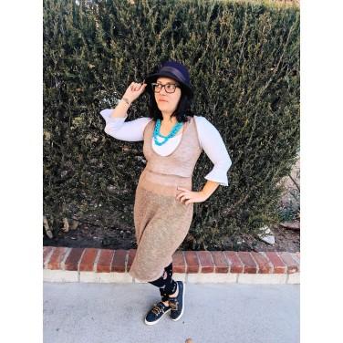 Target Hat, Calvin Klein Glasses, Voyage Clothing Dress, Zara Blouse, Old Navy Leggings, Sperrys